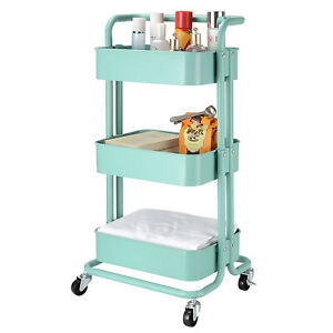 Metal Rolling Utility Cart-Heavy Duty Mobile Storage Organizer for Home 3-Tier