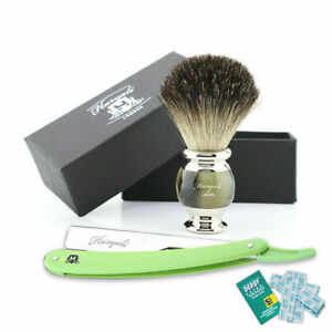 2 Pieces Professional Barber Shaving Kit with Straight Razor & Synthetic Brush
