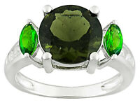2.34ct Moldavite, .43ctw Chrome Diopside, .20ctw Zircon Sterling Silver Ring -11