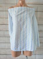 Refuge Off Shoulder Top Blouse Size Large Blue White Stripe Bell Sleeve