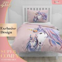 Baby Mama Unicorn Art Watercolor Pink Duvet Cover Set Zipper Pillow Cover