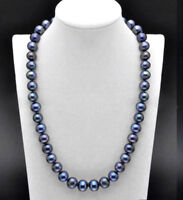 """AAA+  10-11mm Black Freshwater Cultured Pearl Necklace Long 18"""" 20"""" 22"""" 24""""36"""""""