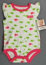 Baby Girl Clothes New Vintage Carter's 3 Month Green Pink Whale Romper Outfit