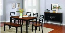 6pc Casual Dining Set Solid Wooden Dining Room Table Furniture Chairs & Bench