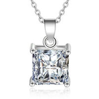 LEKANI 925 Sterling Silver Square CZ Pendant Necklace Women Fashion Jewelry K103