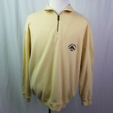 Mens Tommy Bahama Relax Embroider Logo Pullover 1/4 Zip Sweater Yellow Large
