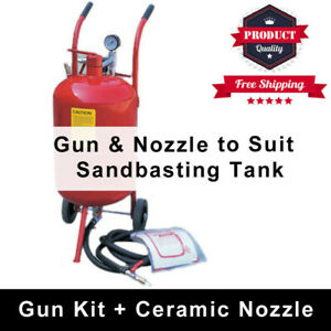 Sandblaster Sandblasting Gun Kit With 5 Replacement Ceramic Nozzle To Suit Tank
