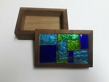"""New listing Georges Briard """"Europa"""" Stained Glass Mosaic Tile/Wood Box Blue/Green Signed Vtg"""