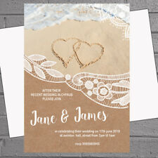 Beach Wedding Abroad Wedding Invitations x 12 - Lace Heart Sand H1745