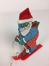 "Skiing skier Santa Wooden Christmas Tree Ornament Ski Goggles Blue Jacket 3.5"""
