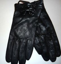 Ladies Big Bow Genuine Leather Gloves,Black, Large