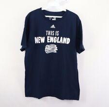Adidas Mens Large New England Revolution MLS Soccer Spell Out Shirt Navy Blue