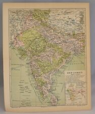 Rare Collectable Map | Original Antique Print of India, Nepal and Tibet 1885-90