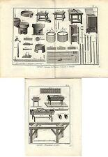 Stampa antica LAVORAZIONE DELLA CERA 2 FOGLI Enciclopedia Diderot 1783 Old print