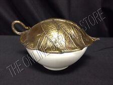 Pottery Barn Cast Leaf Gold Lid Lidded Kitchen Dining Serving Bowl Earthenware