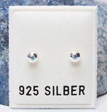 NEU 925 Silber OHRSTECKER mit STRASSSTEINE aquamarine/blau OHRRINGE Glas STRASS