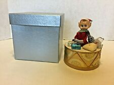 Vintage Christmas Music Box Felt Pixie Elf on Drum Jingle Bells Japan Moves
