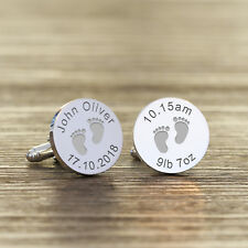 Personalised Silver Finish New Daddy Cufflinks - Baby Feet Mens Gift In Case