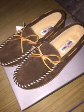 Mens Minnetonka Moccasin Slippers - Brown Insulated Faux Fur Lined Size 8