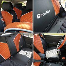 Circle Cool 33041 Seat Cover Set Black+Orange Leather Custom Fit Mid Sedan Combo