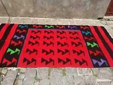 Handmade woven on a loom old rug