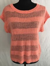 Forever 21 womens Peach Woven Knitted top Kimono Short Sleeves Blouse Size S