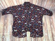 RIVER ISLANS Women's Dark Red Bug Butterfly Print Chiffon Wrap Back Shirt 10