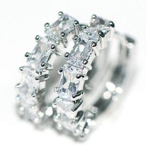 Hoop Huggie Earrings Earings 925 Silver Crystal CZ for Womens Female Jewelry