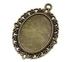 40 New Bronze Tone Oval Frame Cameo Settings 39x29mm