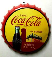 PLACA METAL DECORACION CHAPA BOTELLA 30 CM IMPRESION DRINK COCA COLA IN BOTTLES