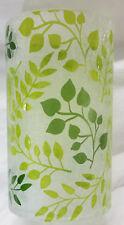 Yankee Candle Hurricane Glass Jar Holder: OLIVE TENDRIL Green White Leaf Vine