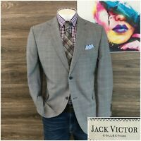 Jack Victor Sport Coat Two Button Jacket Men's Size 44R Wool Blazer Window Plaid