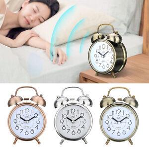 Classic Alarm Clock Silent Double Bell Metal Quartz Snooze Table Desk   AU