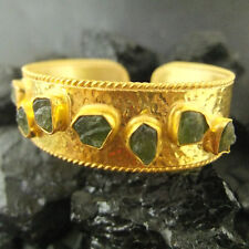 Handmade Hammered Designer Rough Emerald Bracelet Gold Over 925K Sterling Silver