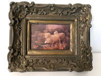 "Vtg Gray Gilt Ornate Picture Frame For 5""x 7"" Chalkware? Baroque Rococo Sheep"