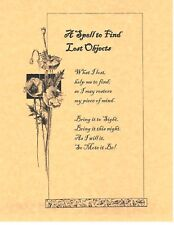 Book of Shadows Spell Pages ** Spell to Find Lost Objects ** Wicca Witchcraft BO