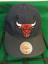 NWT Adult Mitchell & Ness NBA Chicago Bulls Raw Denim Strapback Hat