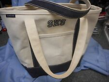 VGC LANDS' LANDS END BAG CANVAS TOTE SHOPPER HANDBAG OPEN TOP W/INITIALS