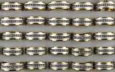 60Stk.Edelstahlringe Großhandel klar Strass Edelstahl Vergoldet Herren Mode Ring