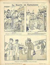 Caricature Guerre Poilus Tranchées Bouteille de Marc Aviateur Avion War 1917 WWI