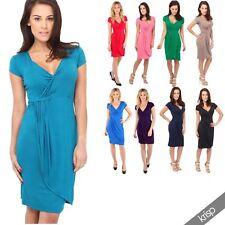 Plus Size Viscose V Neck Short Sleeve Dresses for Women