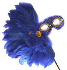 Blue Feather Wand Gold Cluster Mask Masquerade Ball Mardi Gras Party Lady