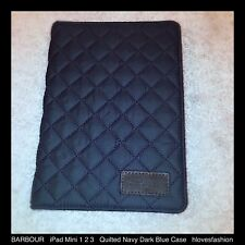 Barbour Acolchada De Cuero Marrón Oscuro Azul Marino Textil iPad Mini 1 2 3 caso