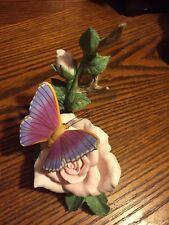 Masterpiece Bone China Rose Bush & Butterfly Homco 1986 Signed Mizuno