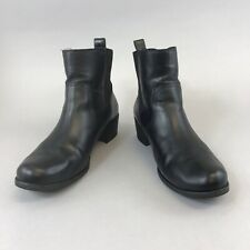 UGGS US9 40 UK7.5 Black Leather Ankle Pull On Chelsea Boots Boho Hippies Booties