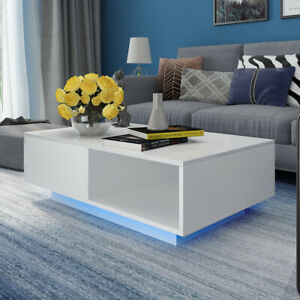 Coffee Table Storage High Gloss With Led Light Living Room Furniture White New