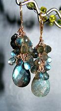 14k Leverback GF Labradorite Gemstone Briolette Cluster Earrings