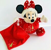 """Disney Store Baby Minnie Mouse Red/White My First Christmas Holiday Plush 10"""""""