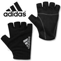 Mens ADIDAS Gloves Fingerless Training Running Sports Gym Cycling Adults Black