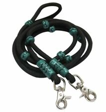 WESTERN SADDLE HORSE BLACK BRAIDED NYLON & TEAL BARREL RACING CONTEST REINS